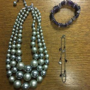 Jewelry - Purple and Silver Jewelry Set (3 piece)